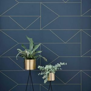 Ferm Living Lines Wallpaper Dark Blue
